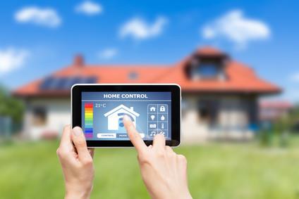 remote home control system on a digital tablet. Black Bedroom Furniture Sets. Home Design Ideas
